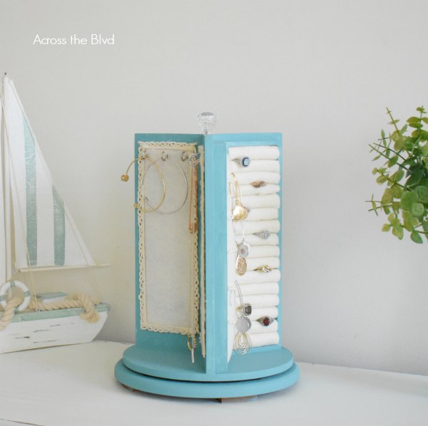 rotating jewelry stand with ivory felt and blue chalk paint