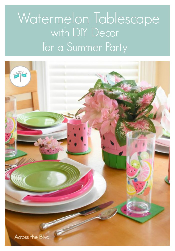 Watermelon Tablescape with diy coasters, candles, and centerpiece