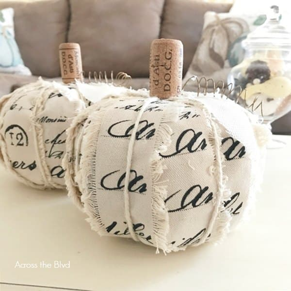 Foam Pumpkins Wrapped with Frayed Ribbon and Twine