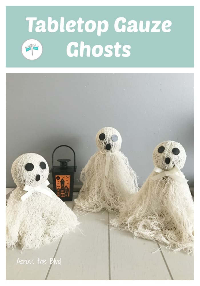 three tabletop ghosts for Halloween decor