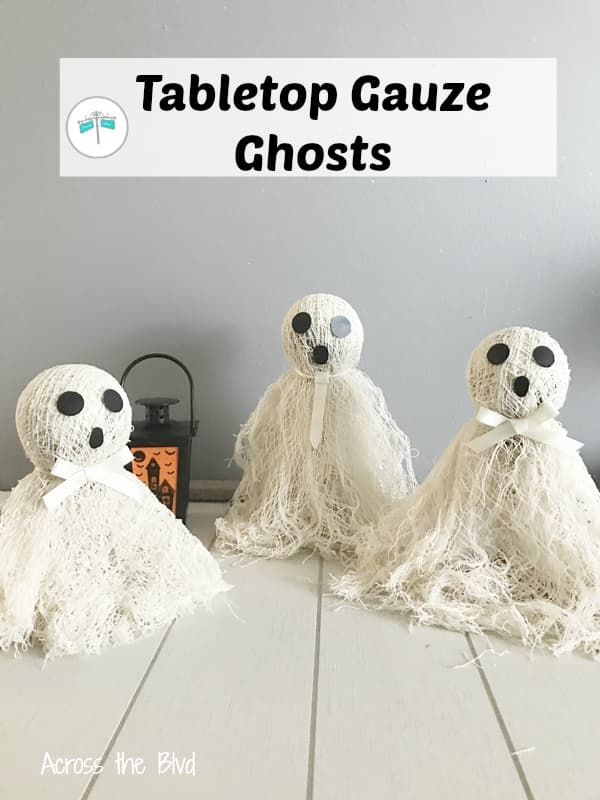 three tabletop Halloween gauze ghosts