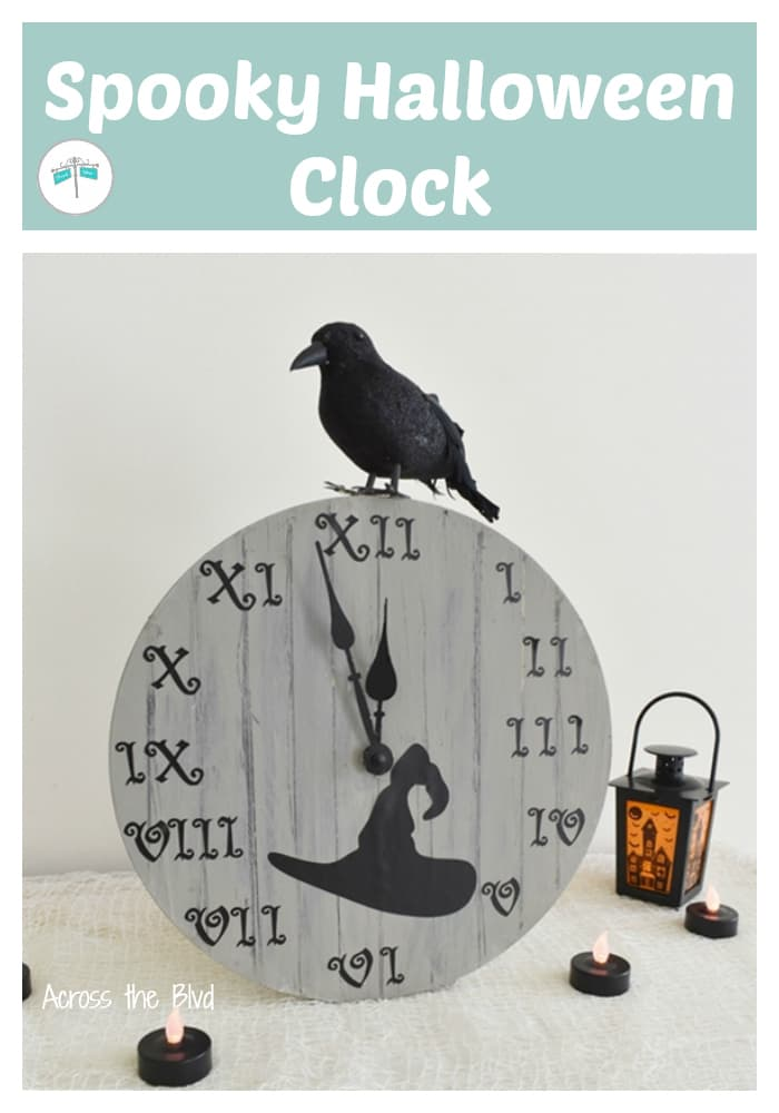 Halloween Clock with witch hat and black bird