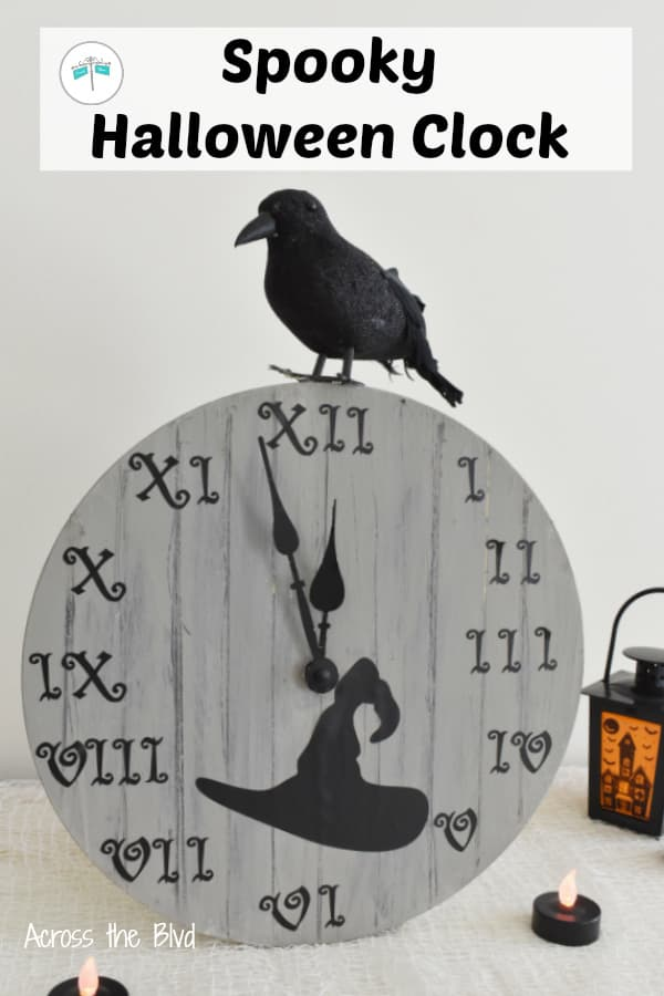 Halloween Clock with Black Bird and Witch Hat