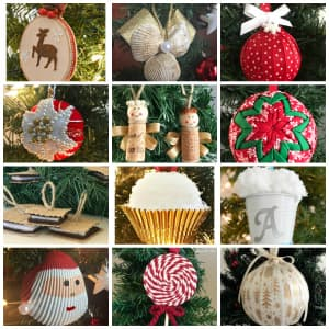 christmas ornaments collage