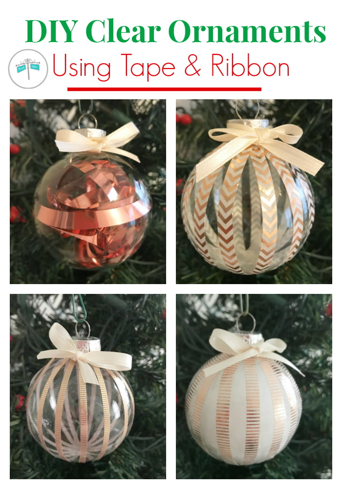 collage photo of 4 diy clear ornaments with decorative tape and ribbon hanging on tree