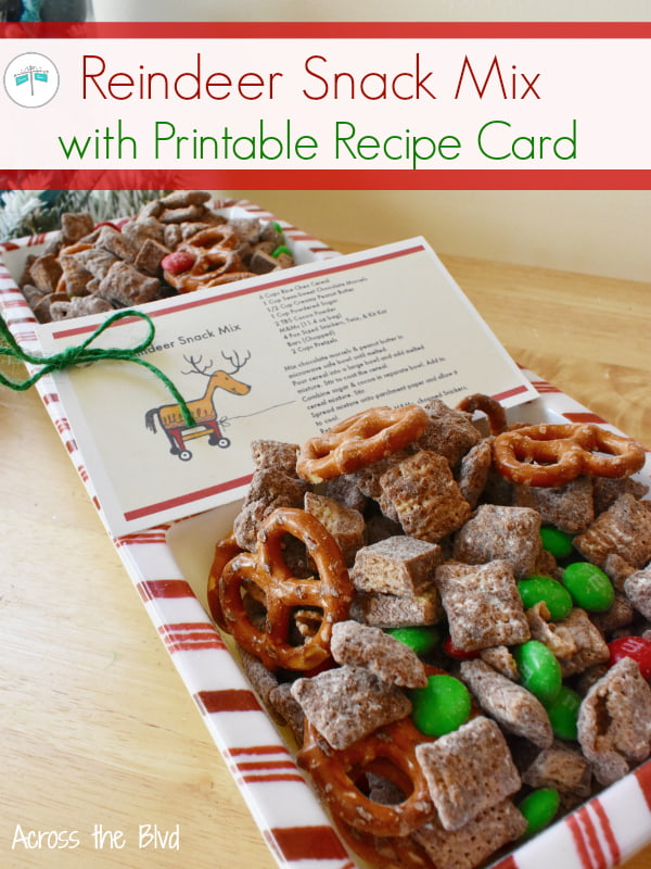 Dish of Reindeer Snack Mix with Recipe Card