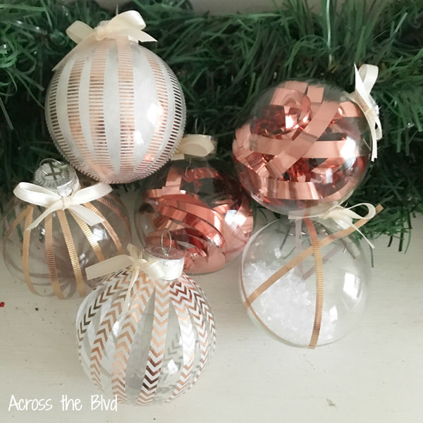 rose gold and copper diy ornaments