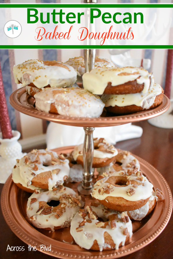 Tiered tray with butter pecan baked doughnuts