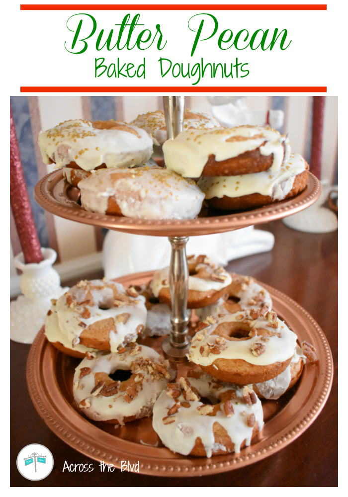 tray of butter pecan baked doughnuts with glaze