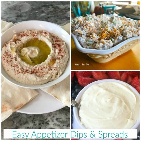 hummus, fruit dip, and cheese spreads in bowls