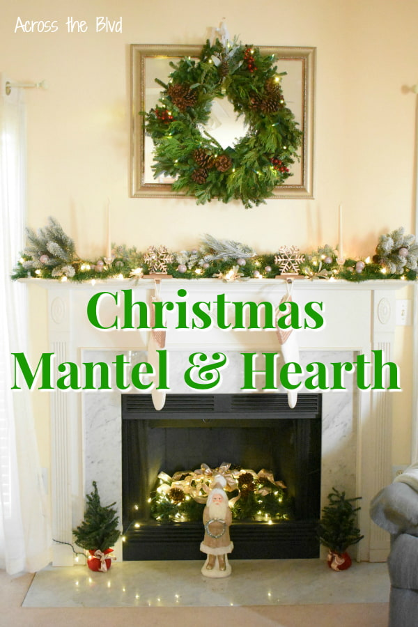 Mantel and Hearth Christmas Decor using rose gold and copper