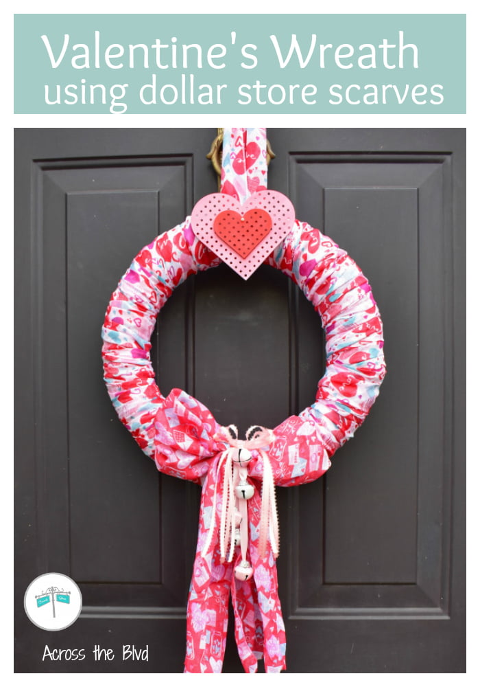 Valentine's Day Scarf Wreath on black front door.