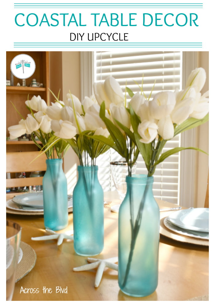 sea glass blue bottles with tulips
