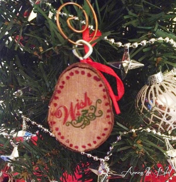 wood slice ornament with sticker