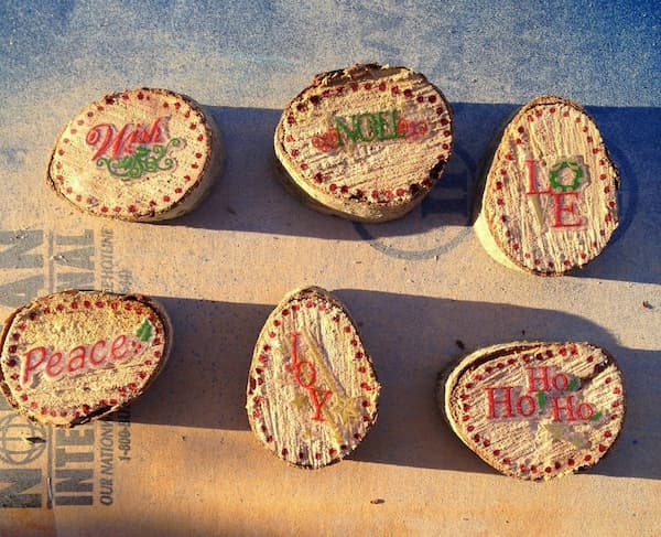 sealer on wood slice ornaments