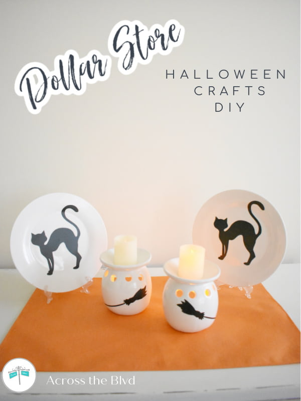 white candle holders and plates with witch's brooms and black cats for Halloween decor