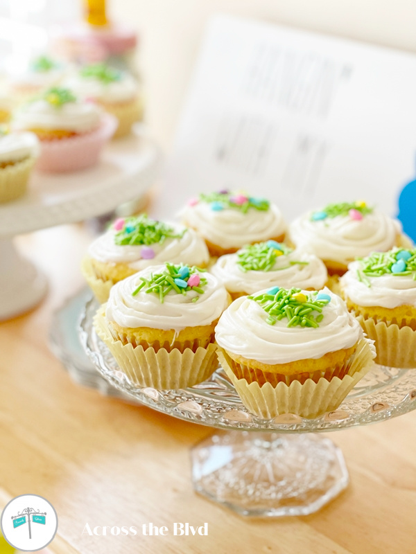 lemon cupcakes with Easter sprinkles