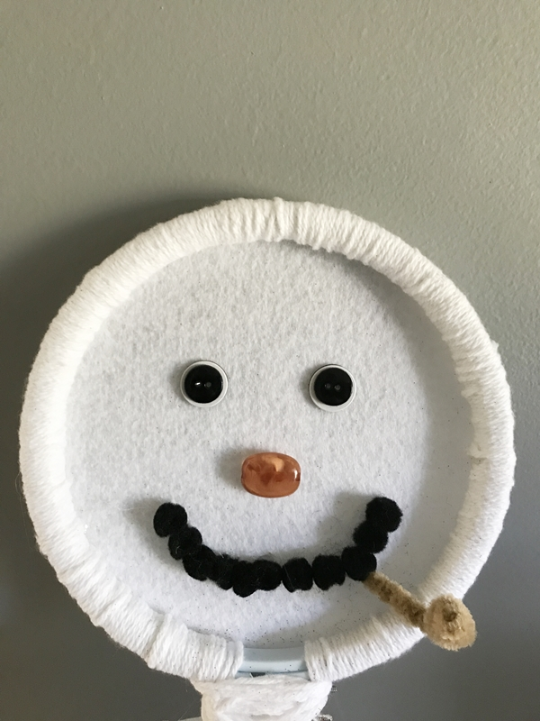 Embroidery Hoop Snowman Door Hanger face