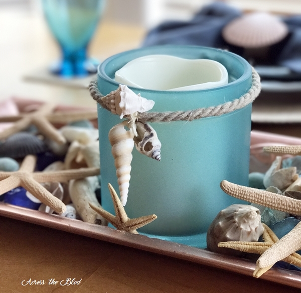 Coastal Jar Makeover with Sea Glass Paint with Shells Across the Blvd