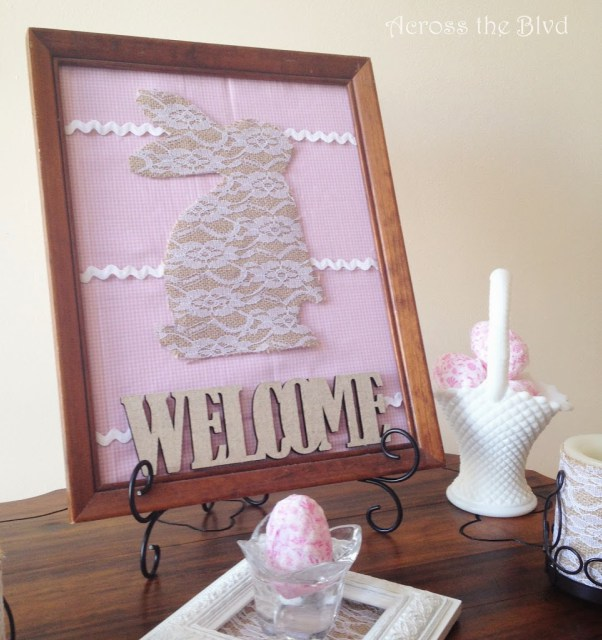 Easter Vignette With Burlap & Lace Bunny