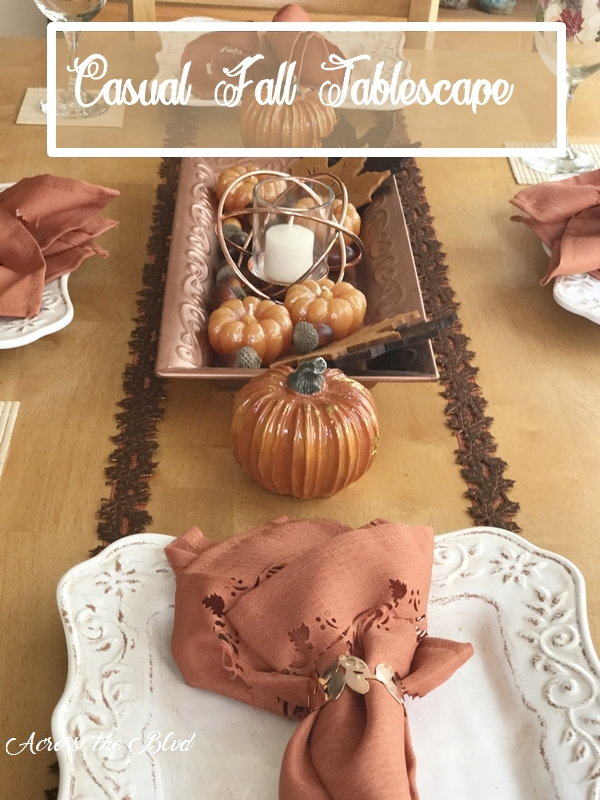 Casual Fall Tablescape With Copper Accents
