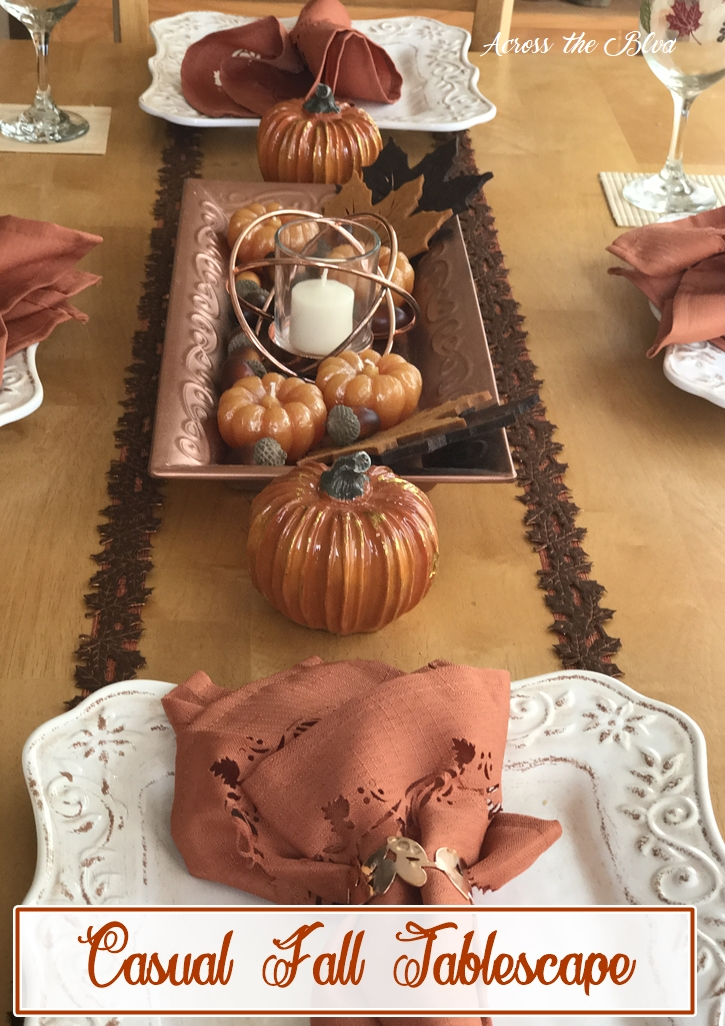 Casual Fall Tablescape With Copper Accents Across the Boulevard
