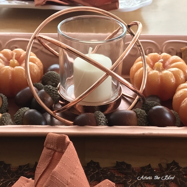 Casual Fall Tablescape With Copper Accents candle holder