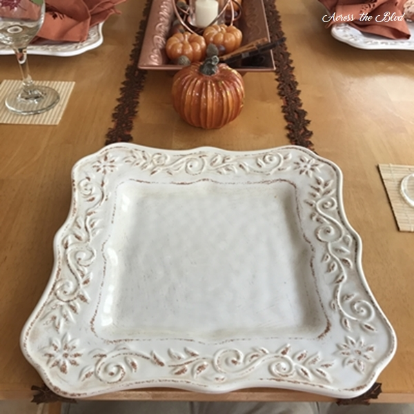 Casual Fall Tablescape With Copper Accents plates