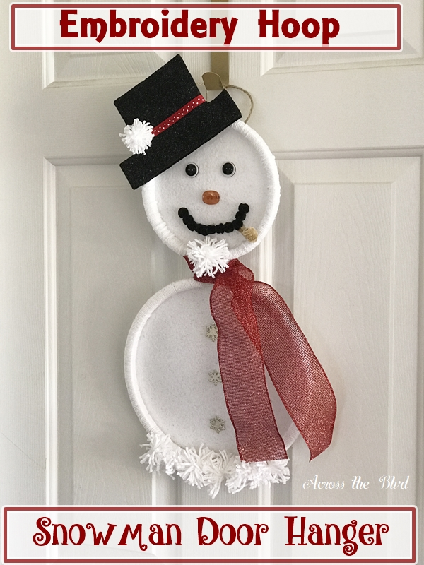Embroidery Hoop Snowman Door Hanger