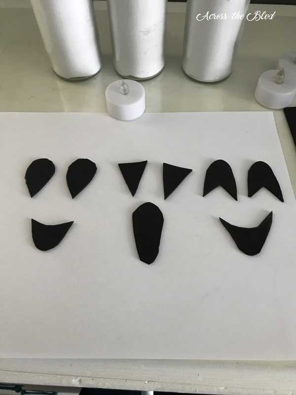 Dollar Store Candle Ghosts Foam Faces