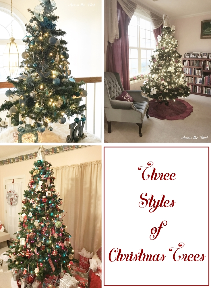 Three styles of Christmas Trees formal, coastal, and traditional