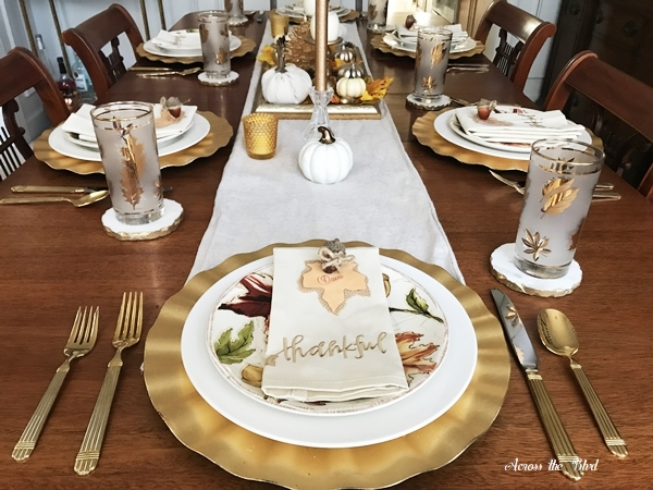 Thanksgiving Table Setting With DIY Place Cards Across the Boulevard